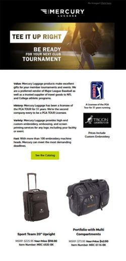 email campaign distributed to golf courses